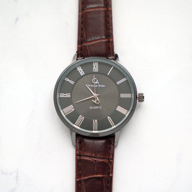 Christyan Arden Leather CA0026 Brown - Black Dial (Pria)