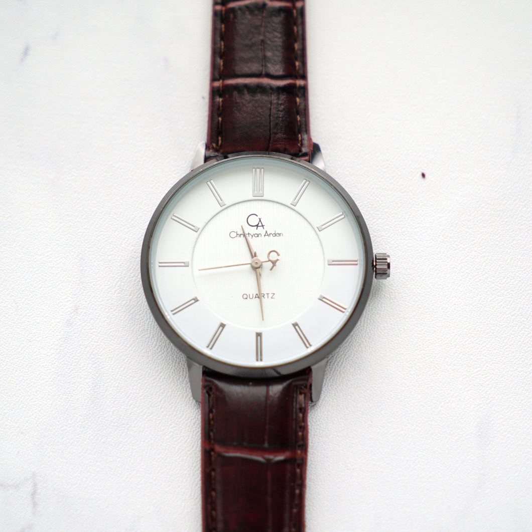 Christyan Arden Full Grain Leather CA0021 Brown - White Dial (Pria)