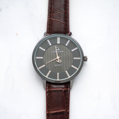 Christyan Arden Leather CA0021 Brown - Black Dial (Pria)