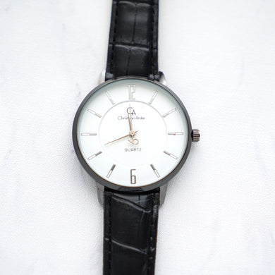 Christyan Arden Leather CA0024 Black - White Dial (Pria)