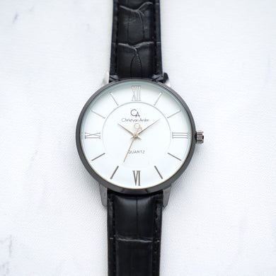 Christyan Arden Leather CA0029 Black - White Dial (Wanita)