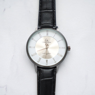 Christyan Arden Leather CA0022 Black - White Dial (Wanita)