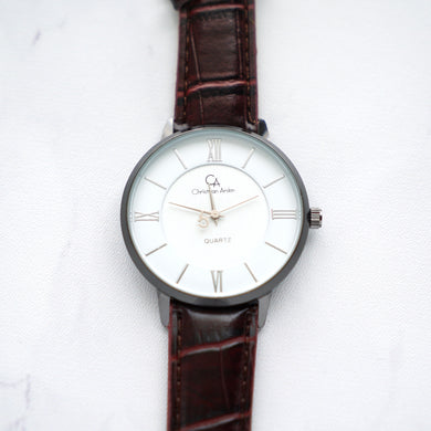 Christyan Arden Leather CA0029 Brown - White Dial (Pria)