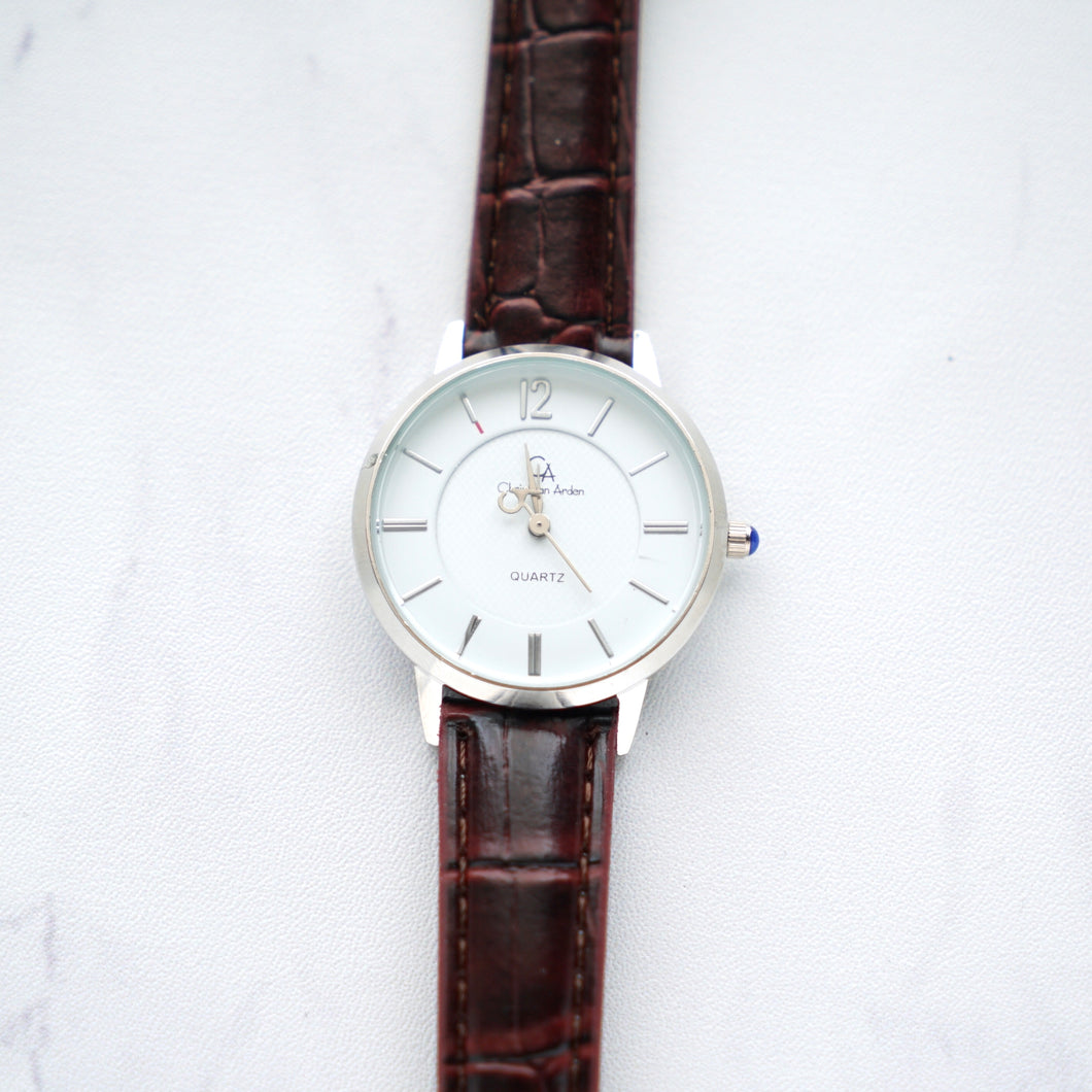Christyan Arden Full Grain Leather CA0003 Brown - White Dial (Wanita)