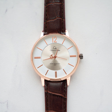 Christyan Arden Original Leather CA0013 Brown - White Dial (Pria)