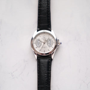 Christyan Arden Full Grain Leather CA8020 Black - White Dial (wanita)