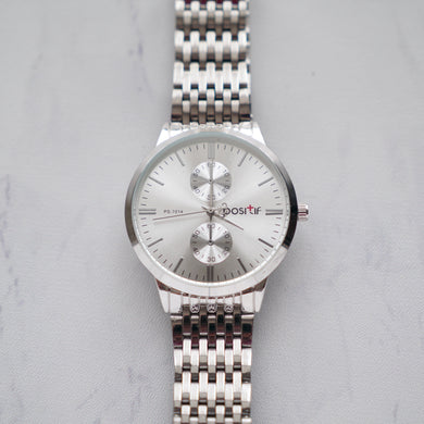 Positif Classic Watch PS7014 White Dial (Pria)