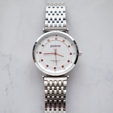 Positif Classic Watch PS7013 White Dial (Pria)