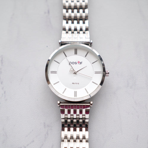 Positif Classic Watch PS7012 White Dial (Pria)
