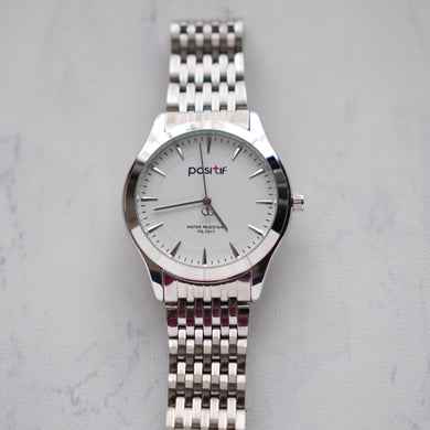 Positif Classic Watch PS7017 White Dial (Pria)