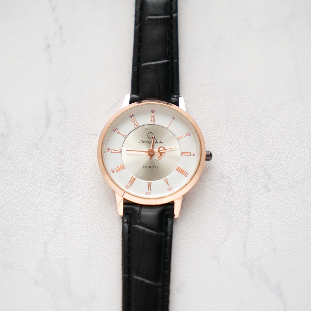 Christyan Arden Full Grain Leather CA0012 Black - White Dial (Wanita)
