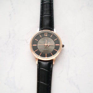 Christyan Arden Full Grain Leather CA0013 Black - Black Dial (Wanita)