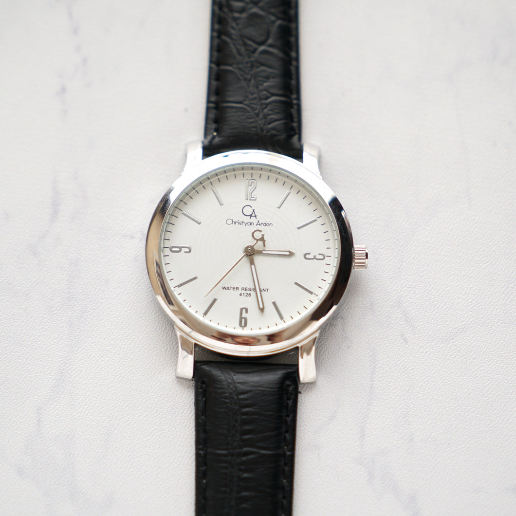Christyan Arden Full Grain Leather CA4126 Black - White Dial (Pria)