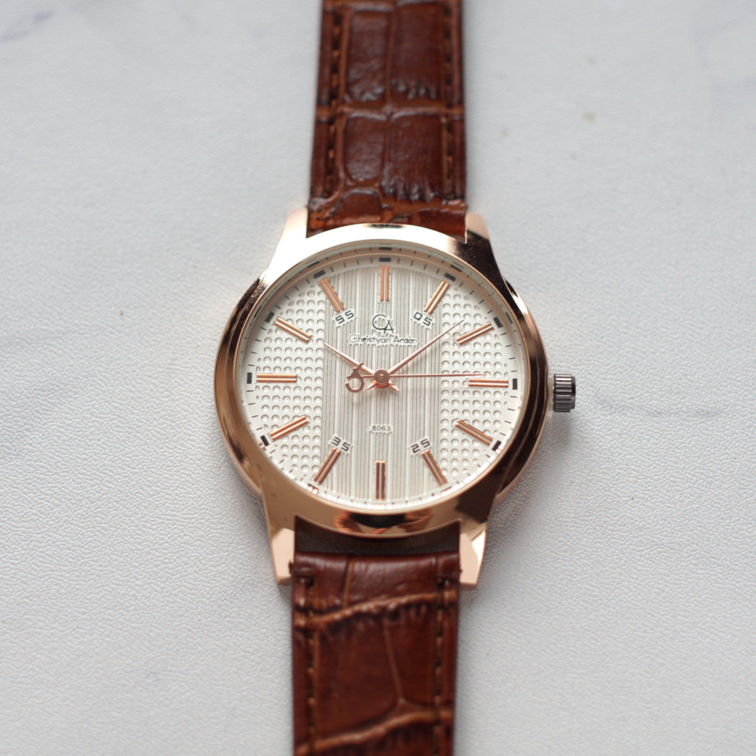 Christyan Arden Full Grain Leather CA8063 Brown - White Dial (Pria)