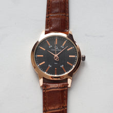Muat gambar ke penampil Galeri, Christyan Arden Full Grain Leather CA8063 Brown - Black Dial (Pria)