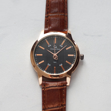 Christyan Arden Original Leather CA8063 Brown - Black Dial (Pria)