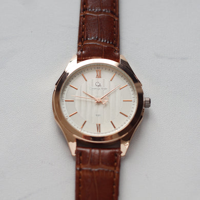 Christyan Arden Original Leather CA8061 Brown - White Dial (Pria)