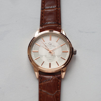 Christyan Arden Original Leather CA8062 Brown - White Dial (Pria)