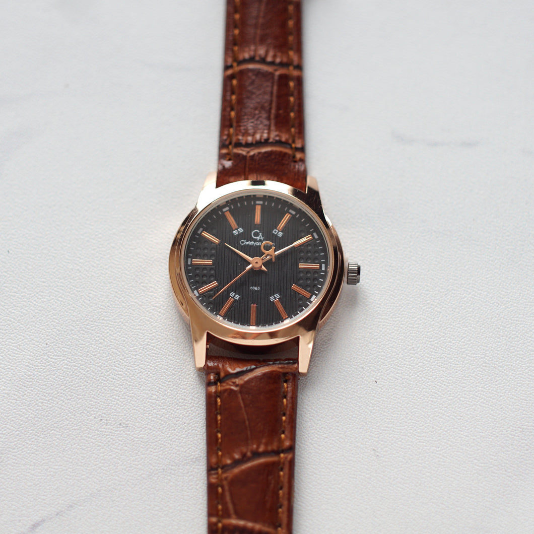 Christyan Arden Full Grain Leather CA8063 Brown - Black Dial (Wanita)