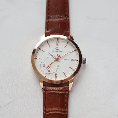 Christyan Arden Original Leather CA0011C Brown - White Dial (Pria)
