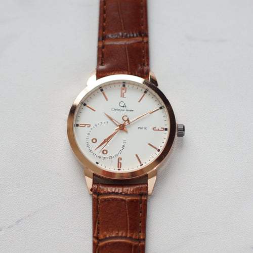 Christyan Arden Full Grain Leather CA0011C Brown - White Dial (Pria)
