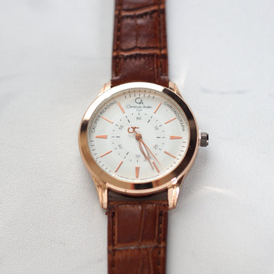 Christyan Arden Original Leather CA1227 Brown - White Dial (Pria)