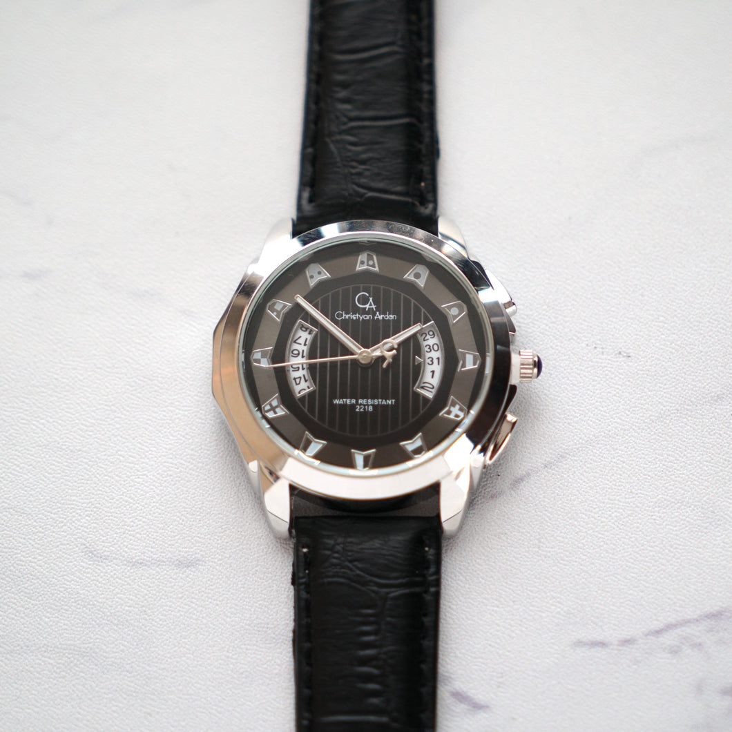 Christyan Arden Full Grain Leather CA2218 Black - Black Dial (Pria)