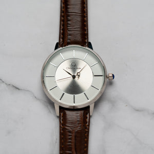 Christyan Arden ANTHEA CA-0008H - Around The World Edition - White Dial - Brown Full Grain Strap (Pria)