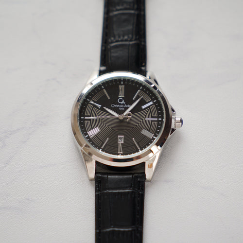 Christyan Arden Full Grain Leather CA1252 Black - Black Dial (Pria)