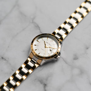 Jean Alexis ODIN LKT JA104 - Prestige Edition - Gold & Silver Stainless Steel Strap - Gold Case - White Dial (33mm)