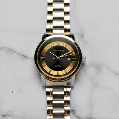 Jean Alexis RANGUALD GKT JA106 - Prestige Edition - Gold & Silver Stainless Steel Strap - Gold Case - Black Dial (43mm)