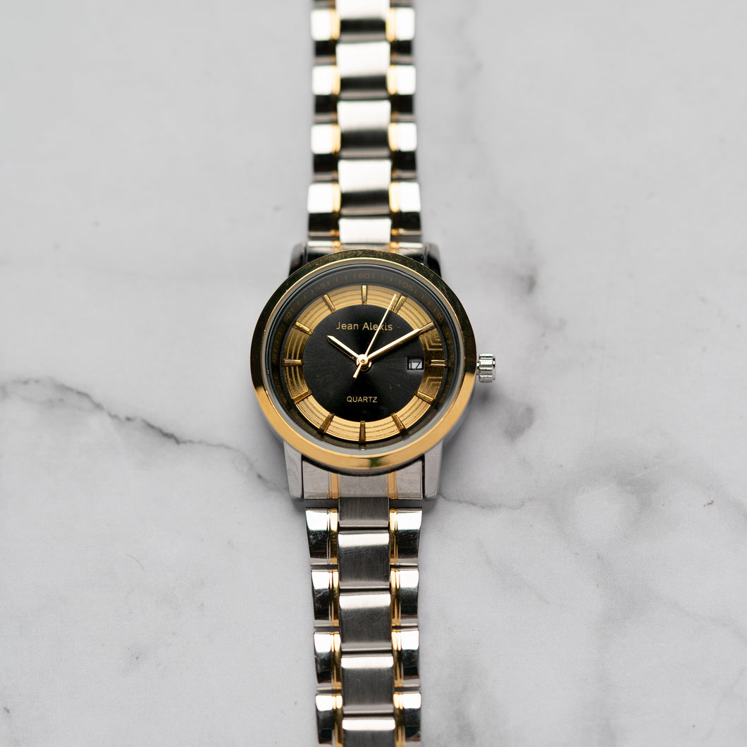 Jean Alexis RANGUALD LKT JA106 - Prestige Edition - Gold & Silver Stainless Steel Strap - Gold Case - Black Dial (33mm)