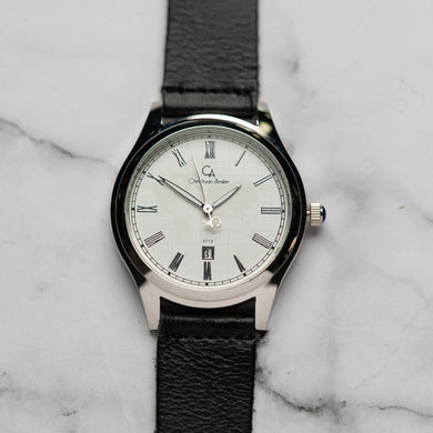 Christyan Arden Full Grain Leather CA3713 Black - White Dial (Pria)