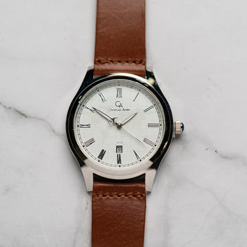 Christyan Arden Full Grain Leather CA3713 Brown - White Dial (Pria)