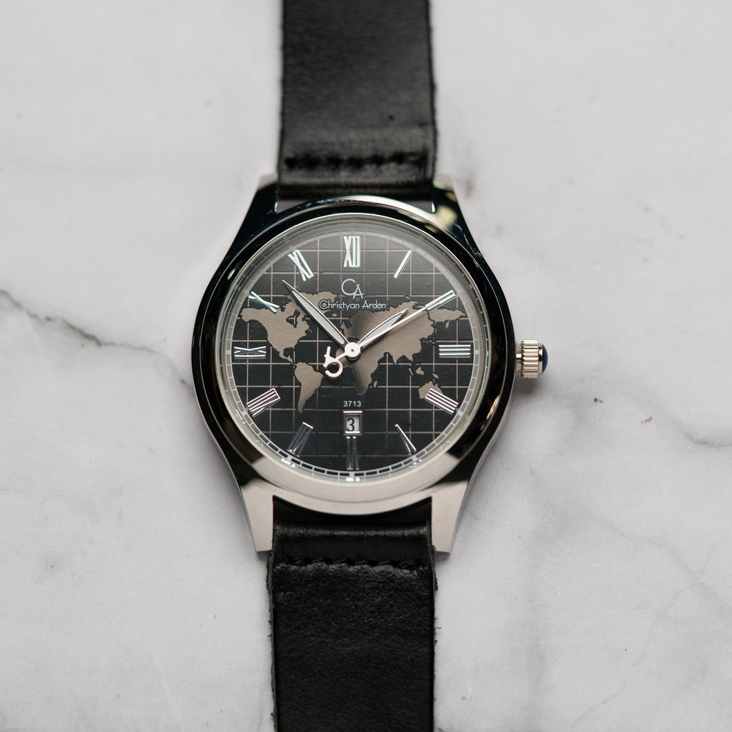 Christyan Arden Full Grain Leather CA3713 Black - Black Dial (Pria)