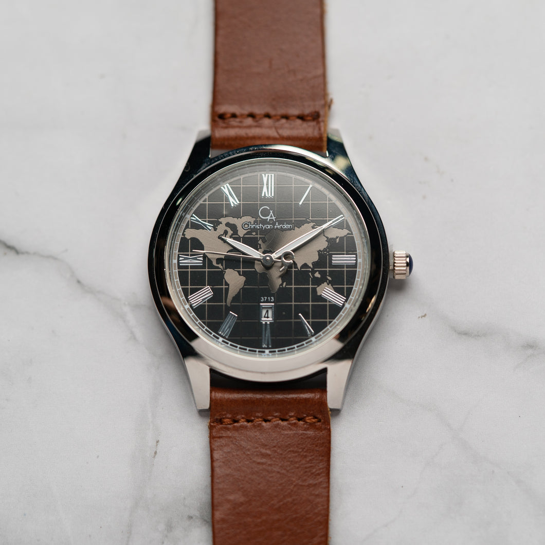 Christyan Arden Full Grain Leather CA3713 Brown - Black Dial (Pria)