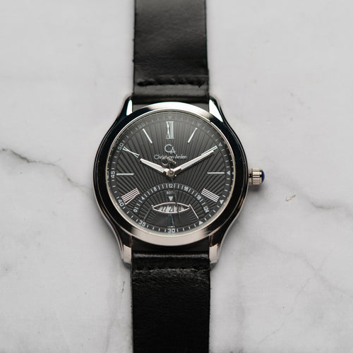 Christyan Arden Full Grain Leather CA8075 Black - Black Dial (Pria)