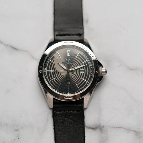 Christyan Arden Full Grain Leather CA2452 Black - Black Dial (Pria)