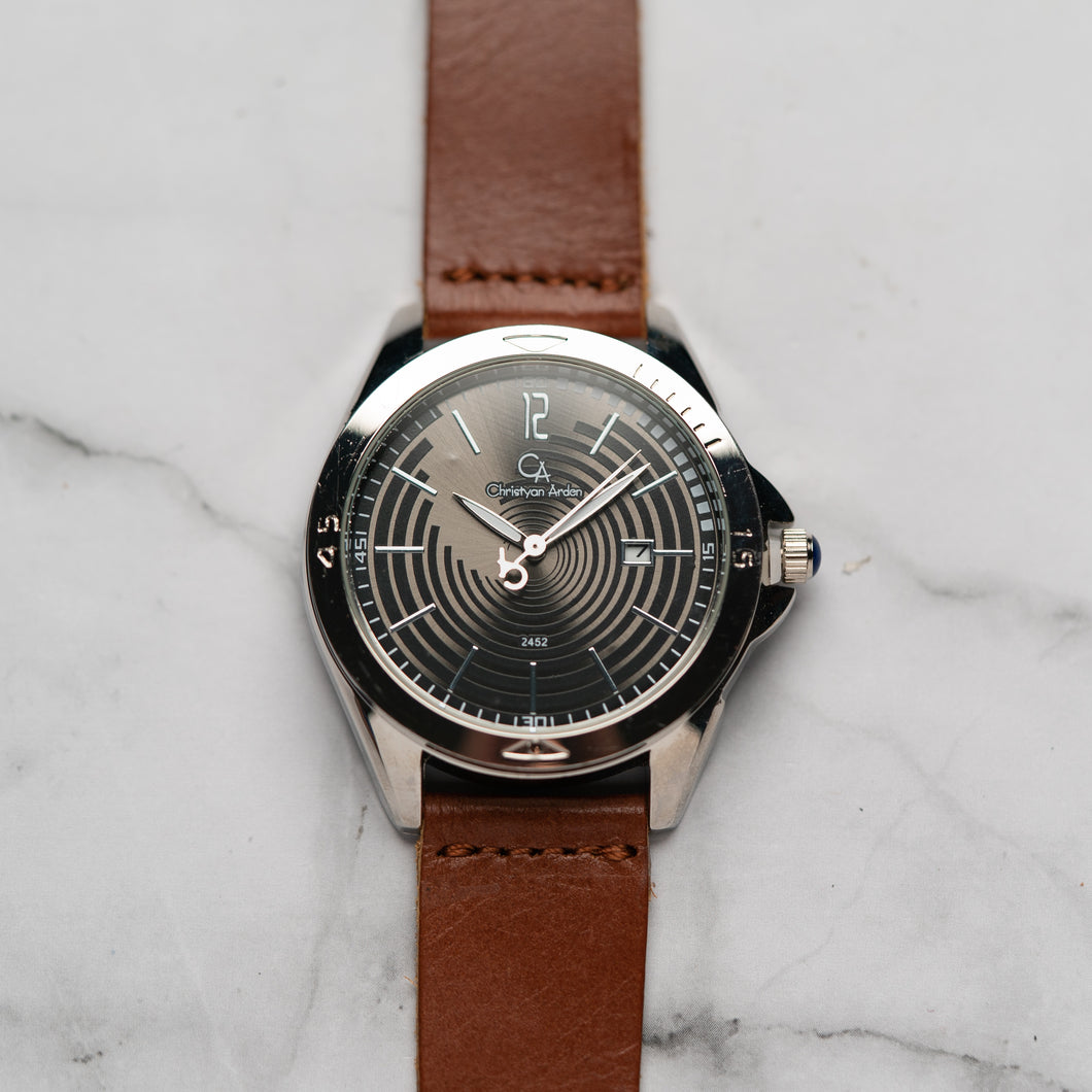Christyan Arden Full Grain Leather CA2452 Brown - Black Dial (Pria)
