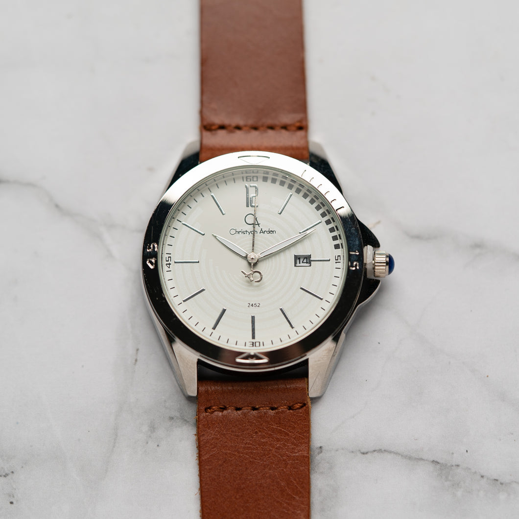 Christyan Arden Full Grain Leather CA2452 Brown - White Dial (Pria)