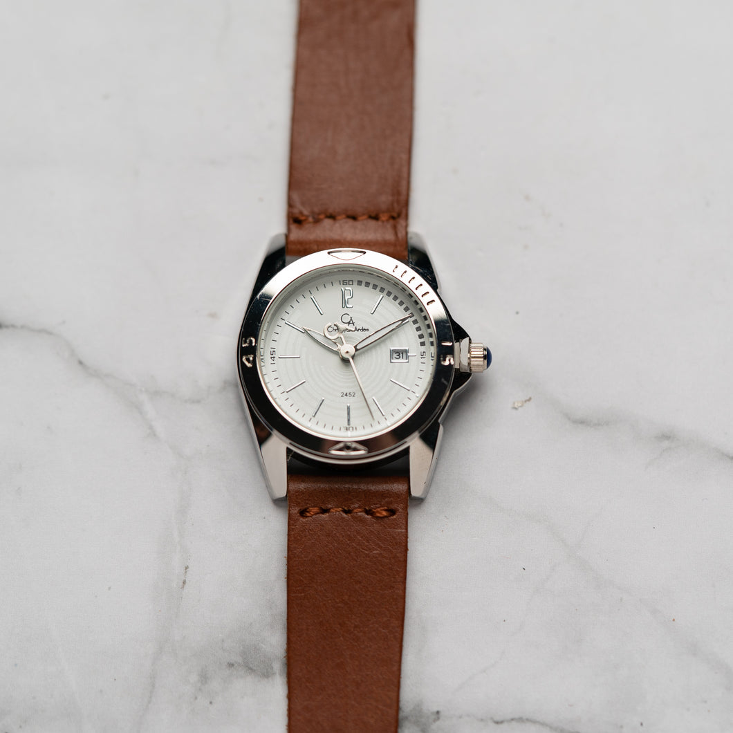 Christyan Arden Full Grain Leather CA2452 Brown - White Dial (Wanita)