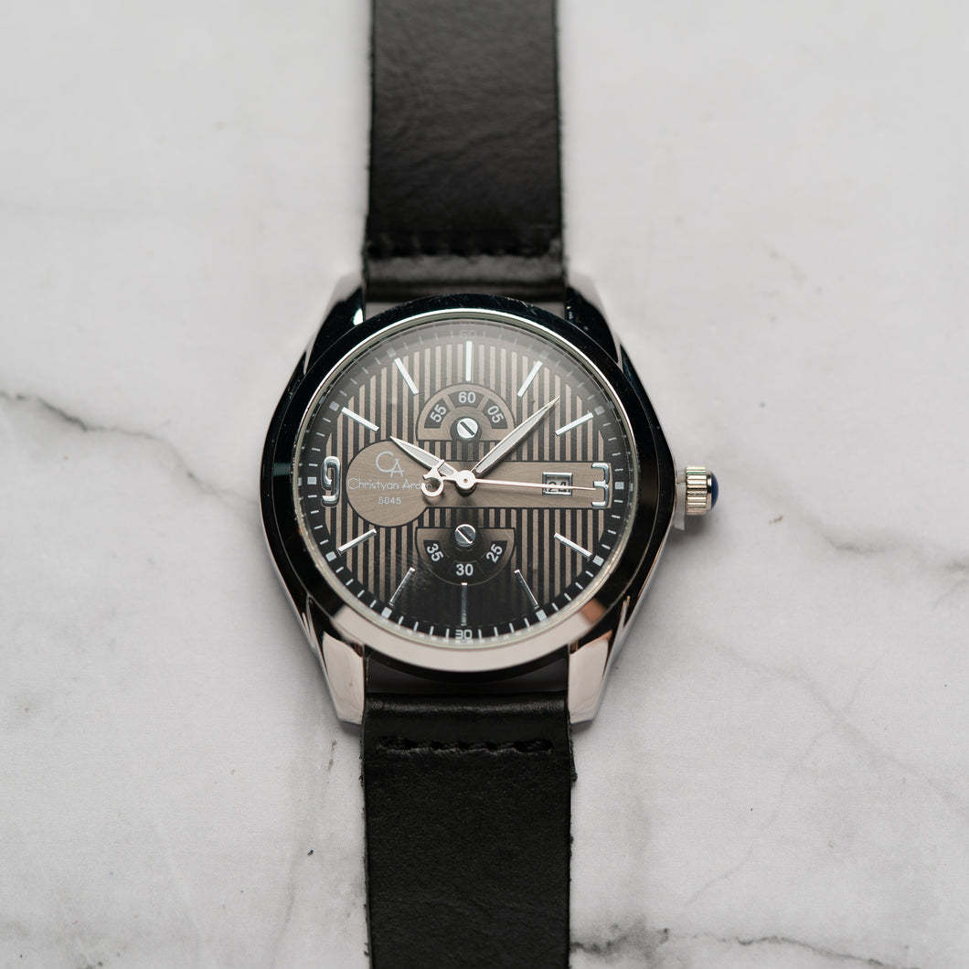 Christyan Arden Full Grain Leather CA5045 Black - Black Dial (Pria)