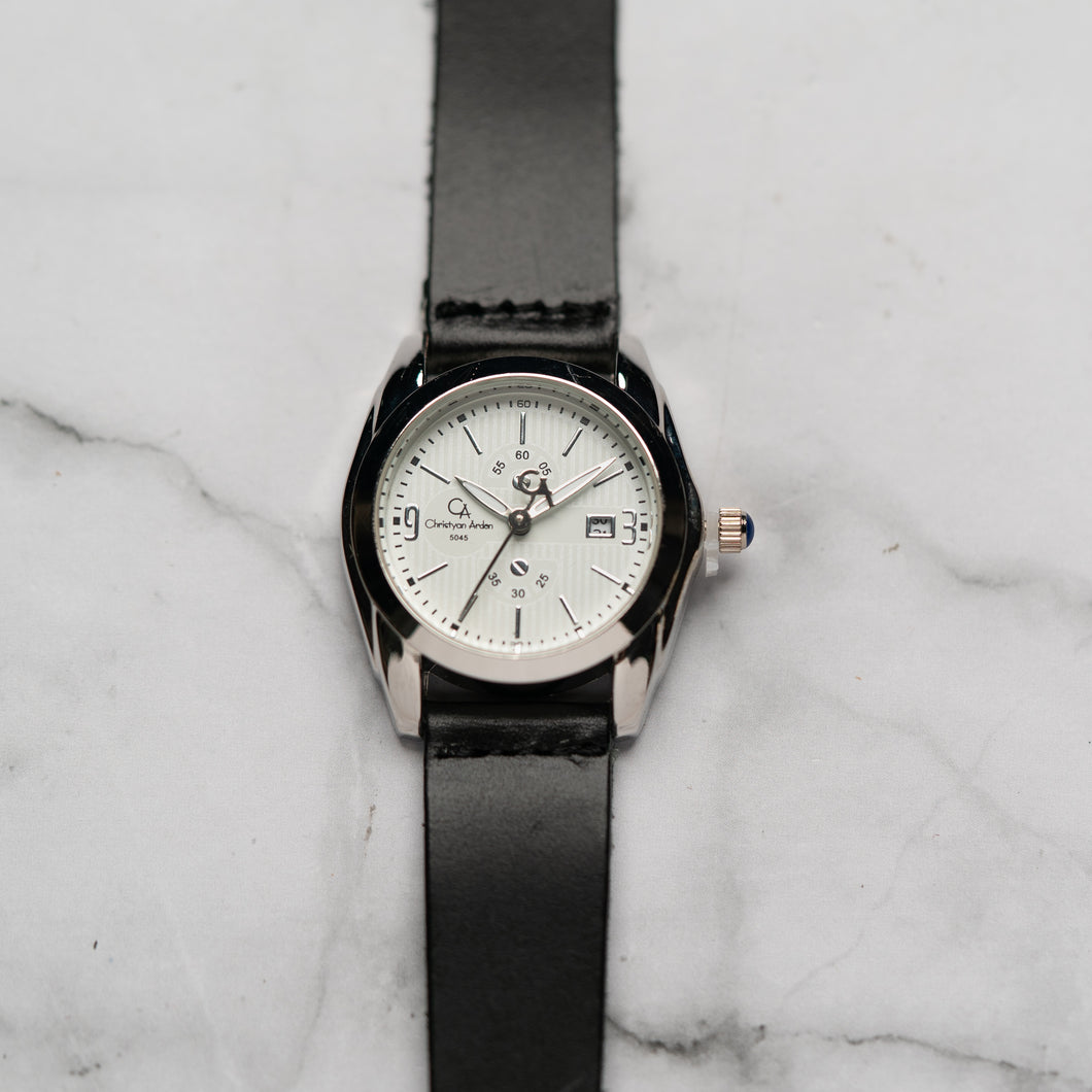 Christyan Arden Full Grain Leather CA5045 Black - White Dial (Wanita)