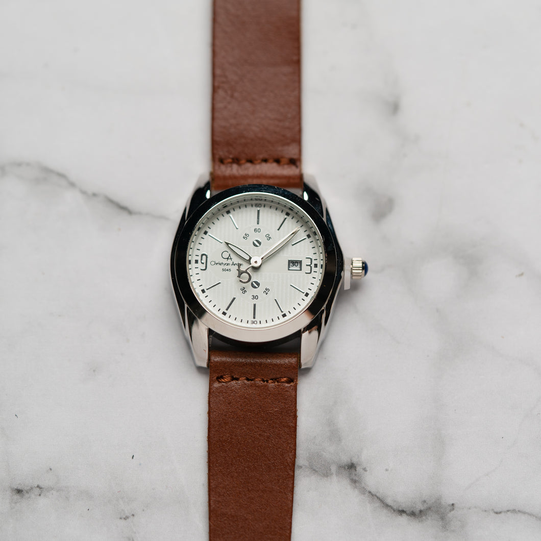 Christyan Arden Full Grain Leather CA5045 Brown - White Dial (Wanita)