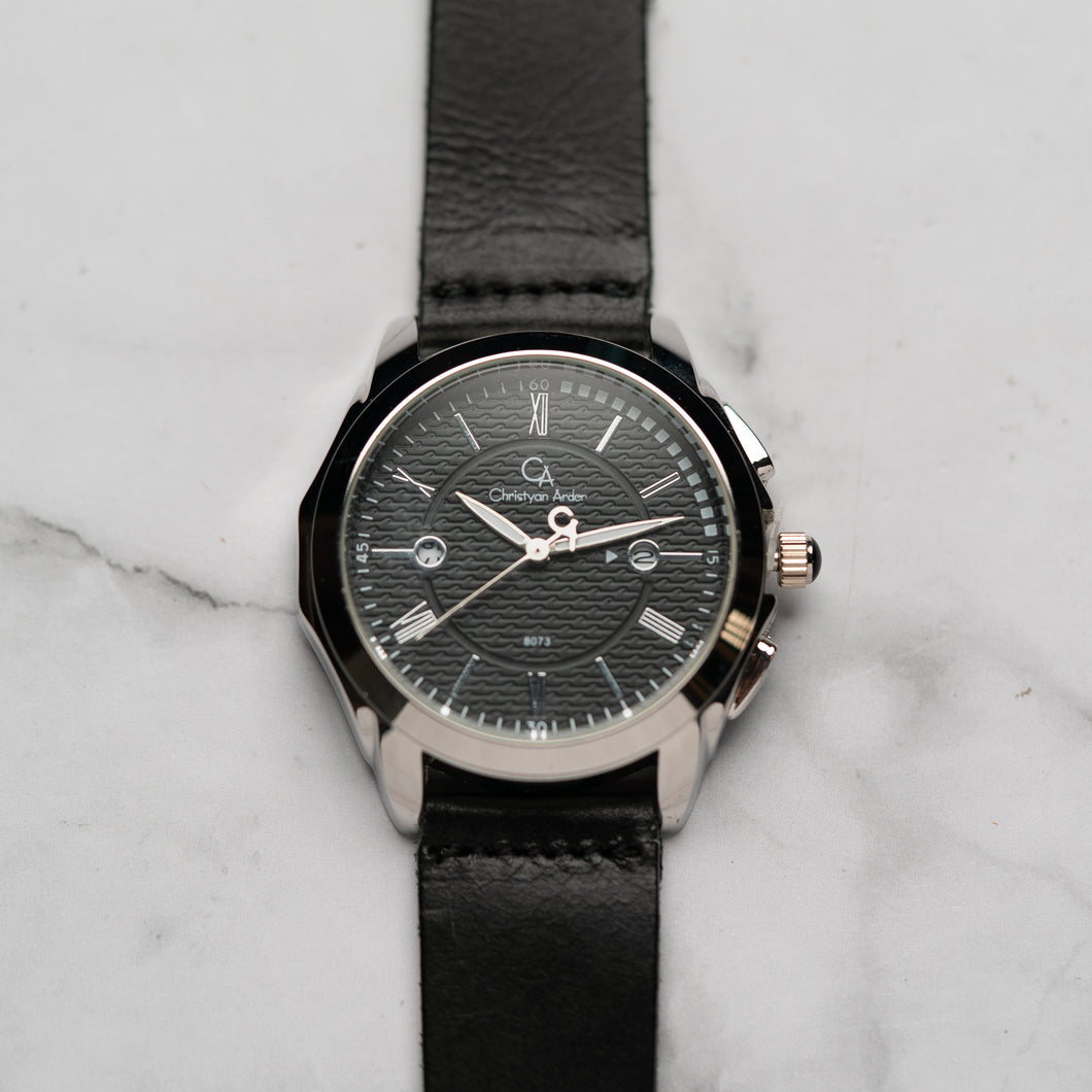 Christyan Arden Full Grain Leather CA8073 Black - Black Dial (Pria)