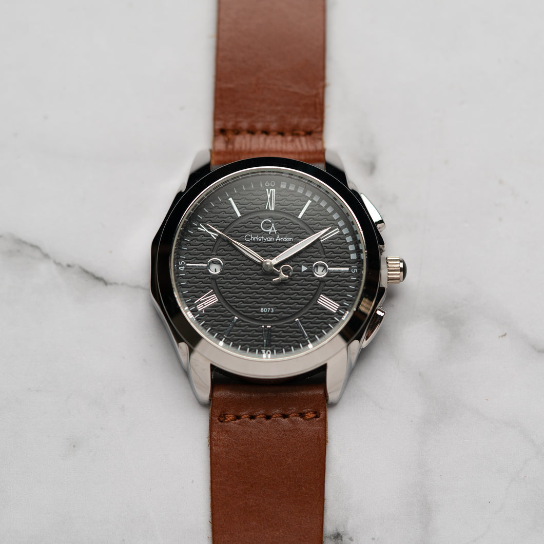 Christyan Arden Full Grain Leather CA8073 Brown - Black Dial (Pria)