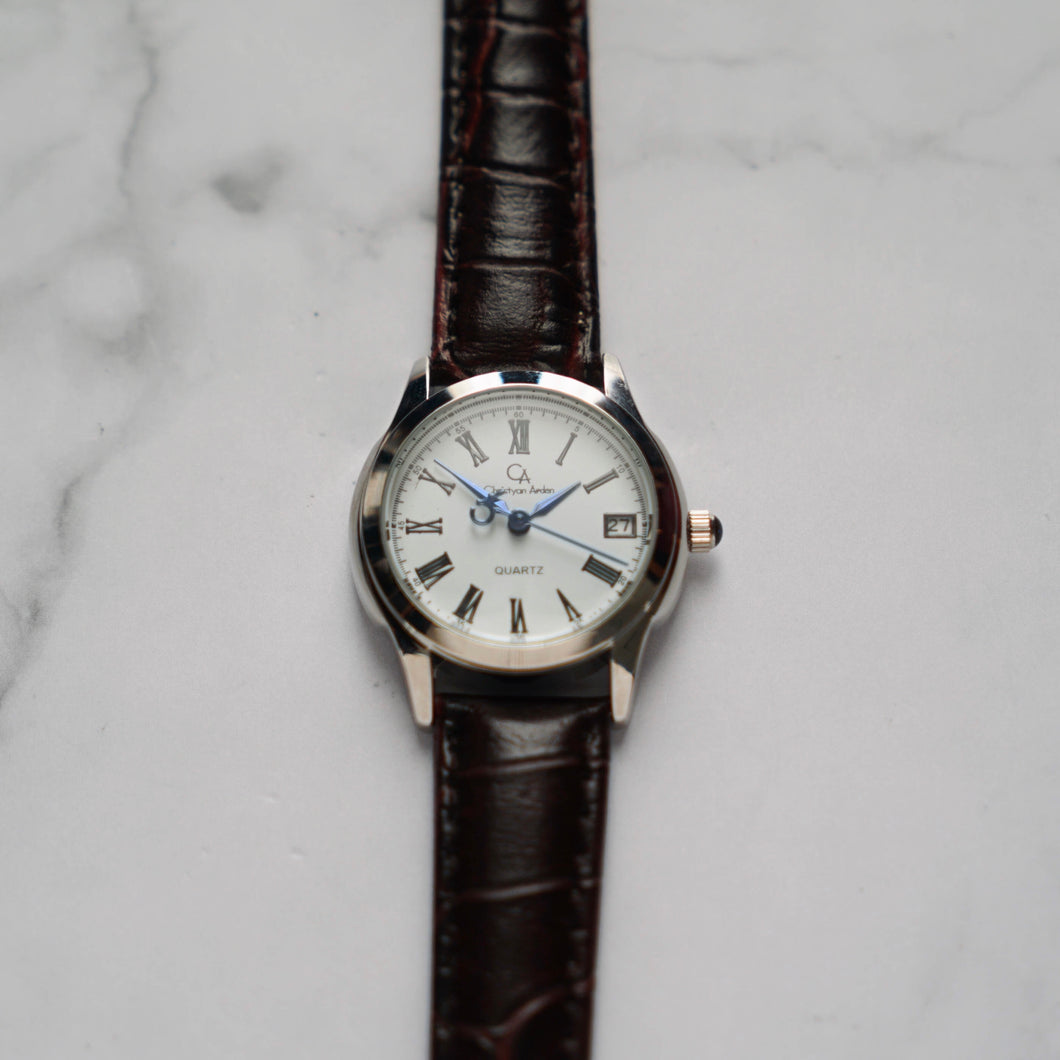 Christyan Arden FELIPE CA3108 - Around The World Edition - White Dial - Brown Full Grain Strap (Wanita)