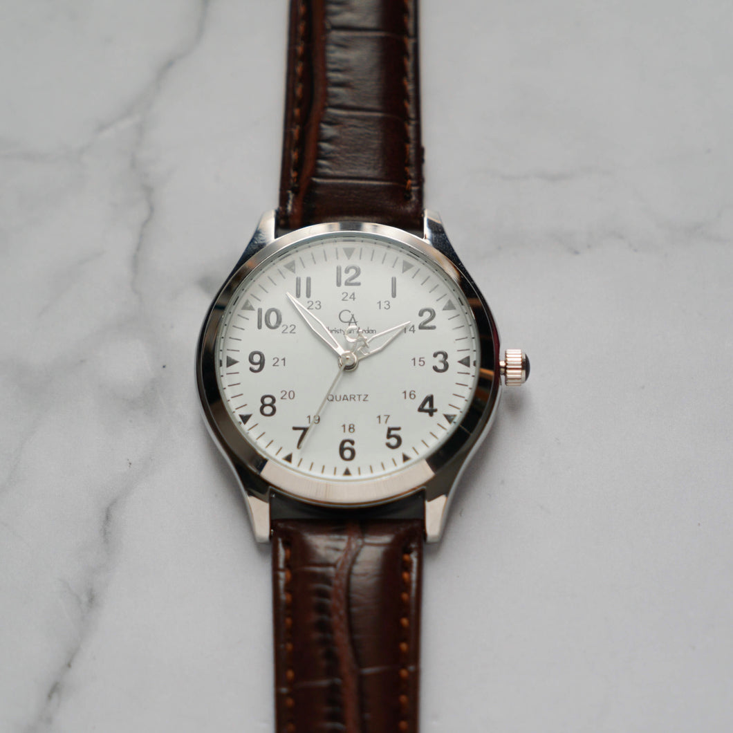 Christyan Arden OPTIMA CA3201 - Around The World Edition - White Dial - Brown Strap (Pria)