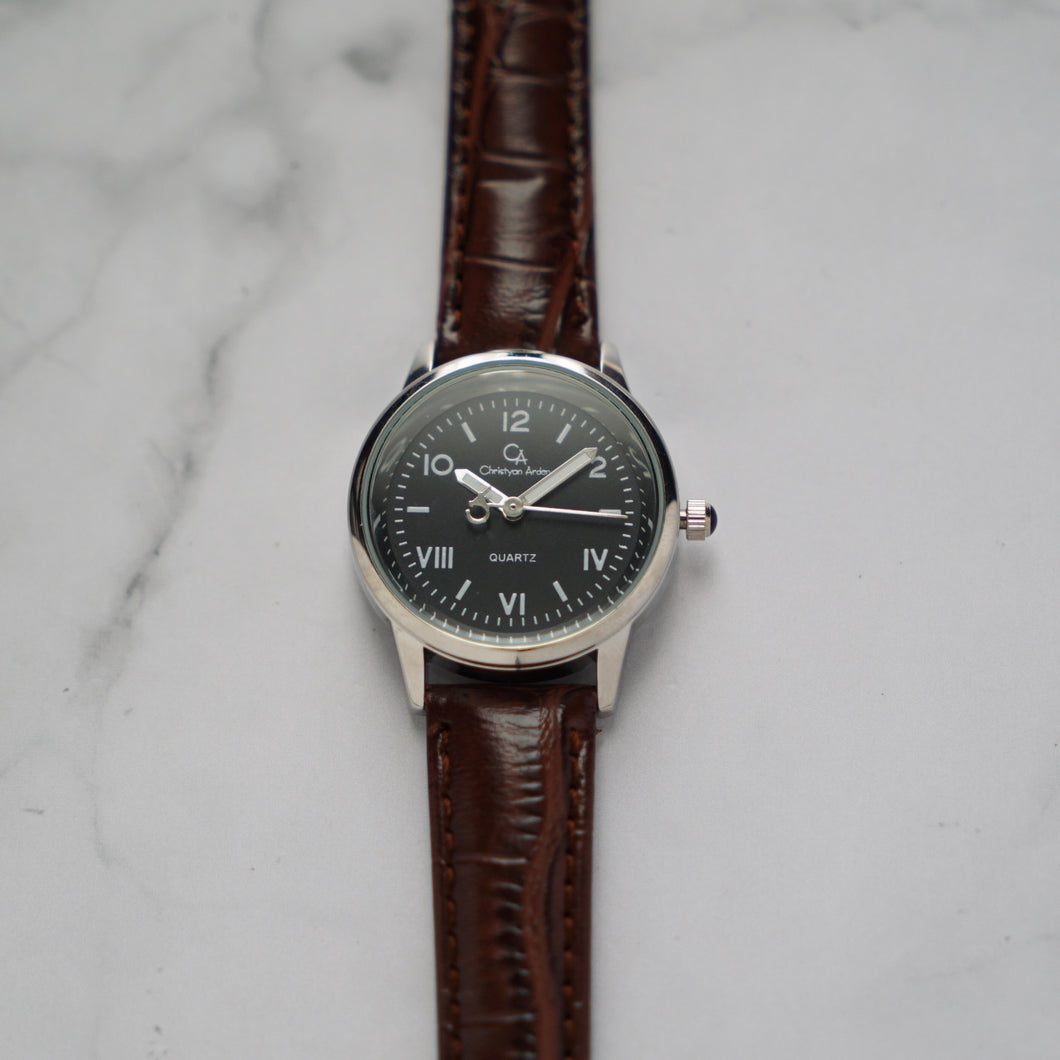 Christyan Arden NILES CA3211 - Around The World Edition - Black Dial - Brown Strap (Wanita)