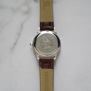 Christyan Arden XANDER CA3210 - Around The World Edition - White Dial - Black Full Grain Strap (Wanita)